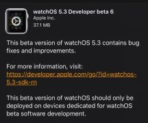 苹果推送watchOS 5.3开发者预览版beta 6版本系统固件