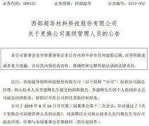 西部超导发布公告 副总经理李建峰辞职