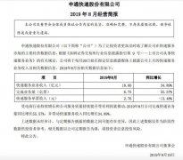 申通快递8月快递服务业务收入同