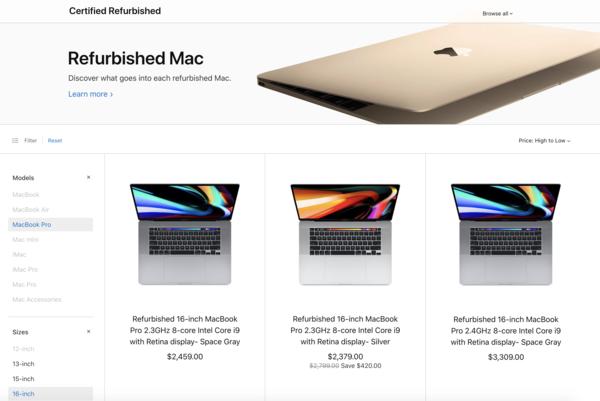 苹果美国官网上架官翻版16英寸MacBook Pro