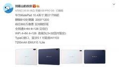 华为MatePad曝光 屏幕大小为10.4英寸