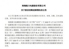 格力电器:截至7月31日公司累计回购599万股 占总股本0.10%