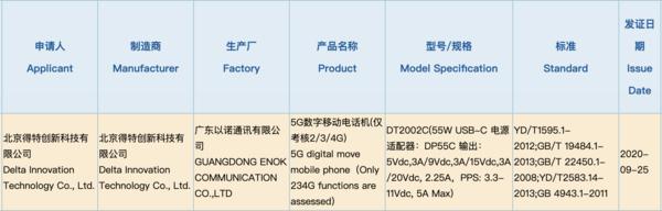 坚果5G新机通过3C认证